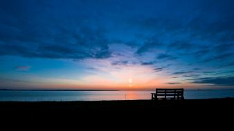 Landscapes dawn bench wallpaper