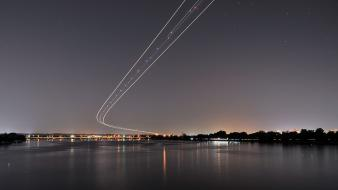 Lights airports long exposure landing aviation rivers wallpaper