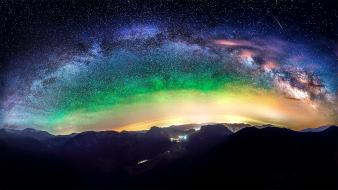 Milky way galaxies night sky outer space wallpaper