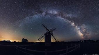 Mill panorama milky way skyscapes skies mills Wallpaper