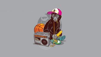 Minimalistic radio basketball bananas monkeys hats shoe laces wallpaper