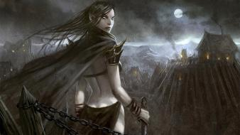 Moon fantasy art town artwork warriors swords wallpaper