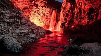 Mountains landscapes red waterfalls wallpaper