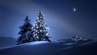 Night winter scenes wallpaper