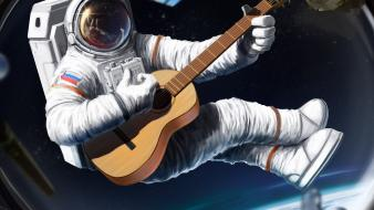 Outer space ships guitars artwork situations astronaut wallpaper