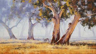 Paintings trees Wallpaper