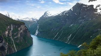 Snow trees hills norway waterfalls rivers fjord wallpaper