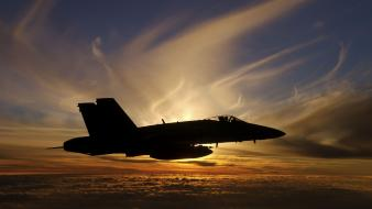 Sunset aircraft iraq aviation f-18 fighter jets wallpaper