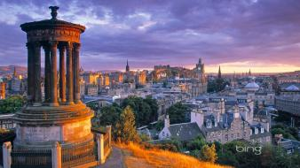 Sunset cityscapes scotland edinburgh monument calton hill wallpaper