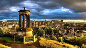 Sunset clouds cityscapes scotland edinburgh monument calton hill wallpaper