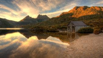 Sunset landscapes nature forests lagoon reflections cradle mountain wallpaper