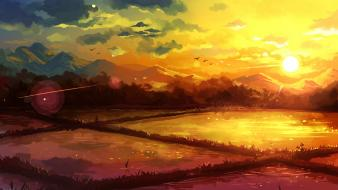 Sunset paintings mountains landscapes fields fantasy art wallpaper