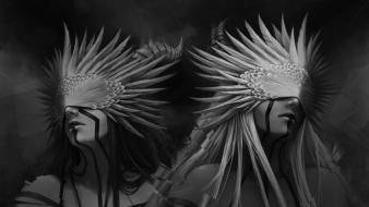 Twins feathers fantasy art grayscale masks artwork wallpaper