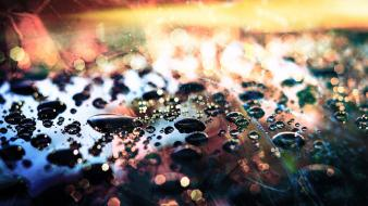 Water abstract bokeh macro drops Wallpaper