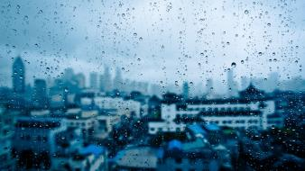 Water rain glass window panes cities drops wallpaper