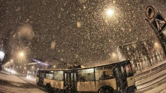 Winter snow cityscapes streets night russia bus roads wallpaper