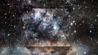 Abstract outer space stars galaxies nebulae colors triangles Wallpaper