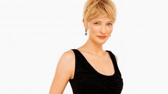 Actresses cate blanchett short hair simple background wallpaper