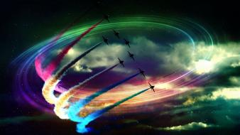 Aircraft aviation colors contrails flying wallpaper