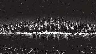 Black and white cityscapes digital art drawings wallpaper