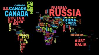 Black background countries typography wallpaper