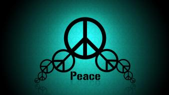 Blue minimalistic peace hippie sign Wallpaper