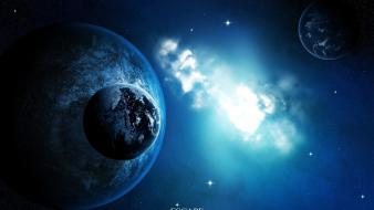 Blue outer space stars planets deviantart escape cosmo Wallpaper
