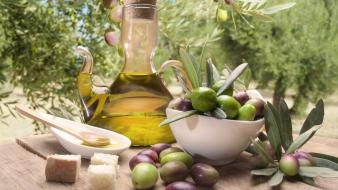 Bowls bread food oil olives wallpaper