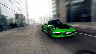 Cars tuning techart porsche 911 carrera green 4s wallpaper