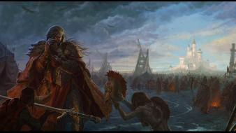 Castles army fantasy art battles warriors helmets swords wallpaper