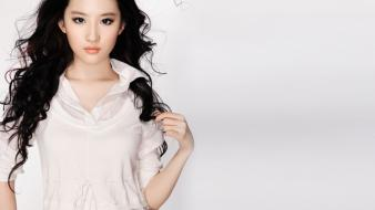 Chinese asians white background liu yifei black wallpaper