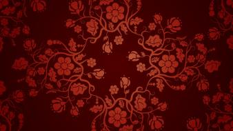 Chinese floral graphics pattern red background wallpaper