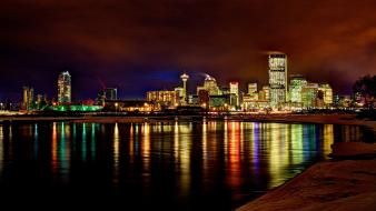 Cityscapes night canada alberta city skyline reflections calgary Wallpaper