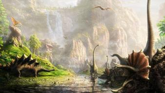 Dinosaurs streams digital art waterfalls land prehistoric wallpaper