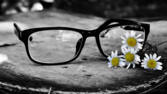 Flowers glasses selective coloring wallpaper