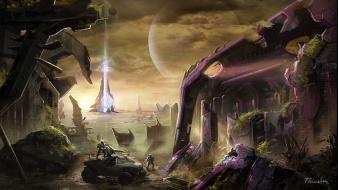 Futuristic planets halo science fiction artwork forerunner Wallpaper