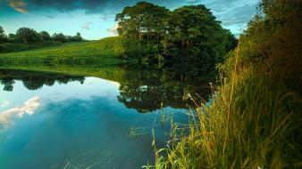 Green landscapes nature trees lakes wallpaper