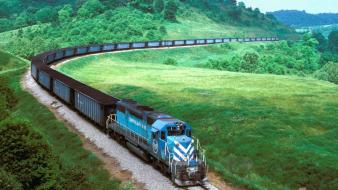 Green landscapes railroads railways trains wallpaper