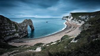Hills shore cliffs hdr photography skyscapes sea wallpaper