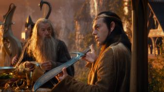 Hugo weaving ian mckellen swords elrond rivendell wallpaper