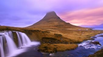 Iceland kirkjafellsfoss national geographic clouds landscapes wallpaper