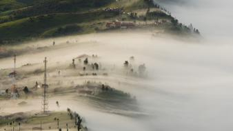 Indonesia national geographic landscapes mist mountains wallpaper