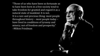 Milton friedman black background quotes text wallpaper