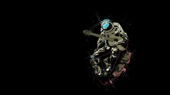 Minimalistic funny guitars space suit asteroids astronaut wallpaper