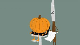 Minimalistic funny knives pumpkins carving Wallpaper