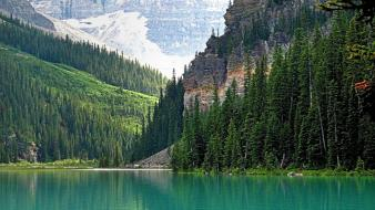 Mountains landscapes nature forests lakes emerald wallpaper