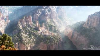 Mountains nature ruins deviantart ancient photomanipulation Wallpaper