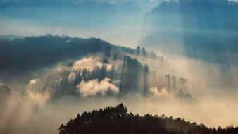 Nature dawn valleys fog sunlight united kingdom wallpaper