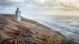 Ocean landscapes nature lighthouses beach wallpaper