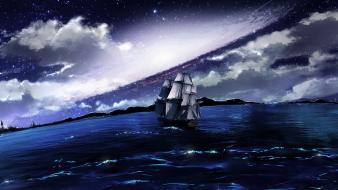Outer space galaxies ships fantasy art journey sea wallpaper